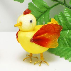Handmade nylon product, wires and Nylon, Yellow, red, Chicken, 1 Animal, 7.5cm x 4.5cm, (SW068)